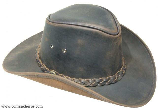Cappello Cowboy in cuoio con treccia COMANCHEROS a1dad2a37ae3