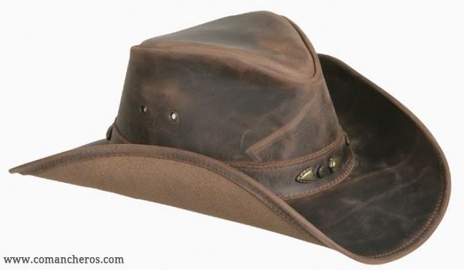 Cappello in cuoio idrorepellente marrone con falda larga COMANCHEROS 6bab6fbefd08