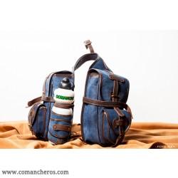 Bisaccia Trekking anteriore Jeans Stone Wash e Cuoio
