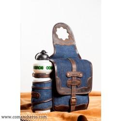 Bisaccia porta borraccia da pomolo in Jeans e Cuoio