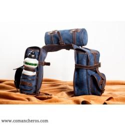 Bisaccia Trekking anteriore con rollino Jeans Stone Wash e Cuoio