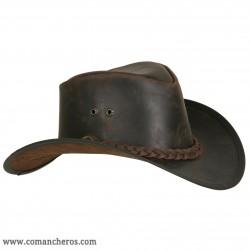 Cappello Country in cuoio con treccia