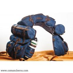 Completo Bisaccia posteriore per sella Trekking in Jeans e Cuoio