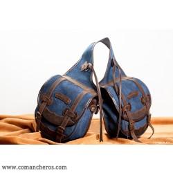 bisaccia per sella posteriore media grandezza in jeans stone-wash e cuoio