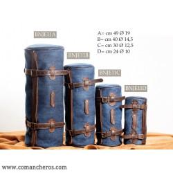 Bisaccia Rollo Medio in Jeans e Cuoio