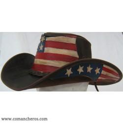 Cappello Western con bandiera Americana in cuoio