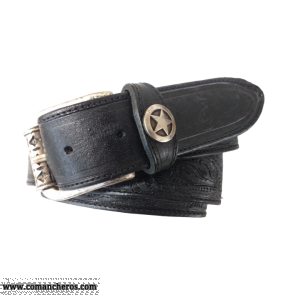 Cintura pelle nera CT124